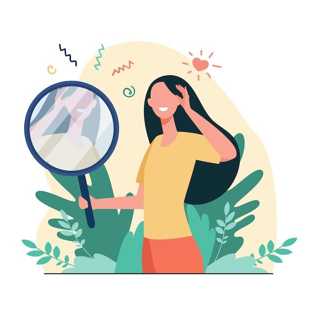 Frau, die flache vektorillustration des spiegels betrachtet. karikatur schöne weibliche figuren, die zu ihrem spiegelbild lächeln. selbstliebe, ego und narzissmus-konzept Kostenlosen Vektoren