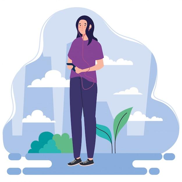 Frau, die freizeitaktivitäten im freien durchführt, frau, die kopfhörer und smartphone-illustrationsdesign verwendet Premium Vektoren