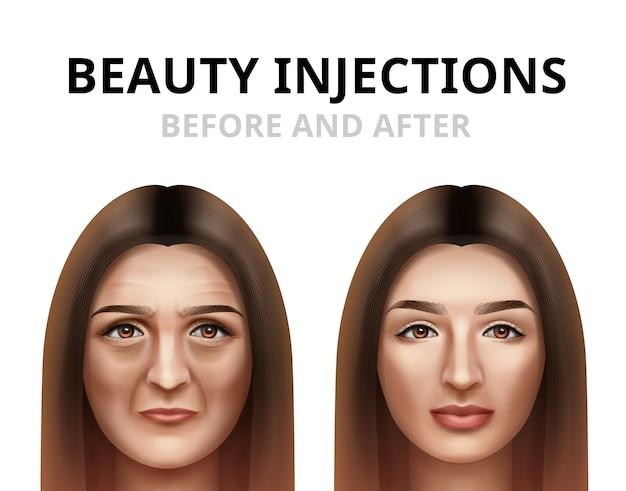 Frau, die gesichtsschönheitsinjektion hat Premium Vektoren
