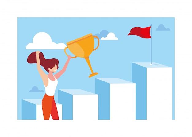 Frau, die herauf treppenhaus zur spitze des berges, weise zum erfolg läuft Premium Vektoren