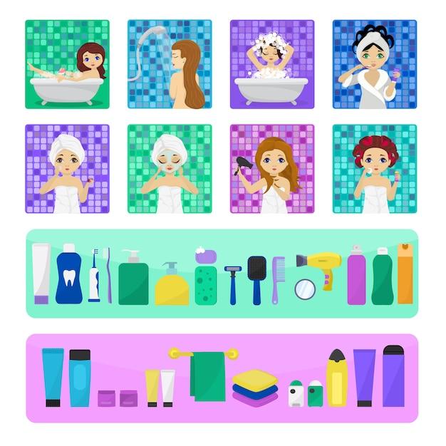 Frau, die im badezimmervektor schönes mädchencharakter wäscht, der im badillustrationssatz wäscht Premium Vektoren