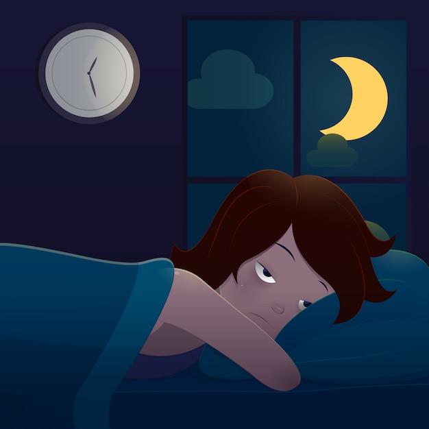 Frau, die im bett leidet unter schlaflosigkeit liegt Premium Vektoren