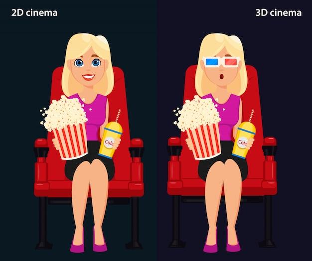 Frau, die im kino sitzt und einen film schaut Premium Vektoren