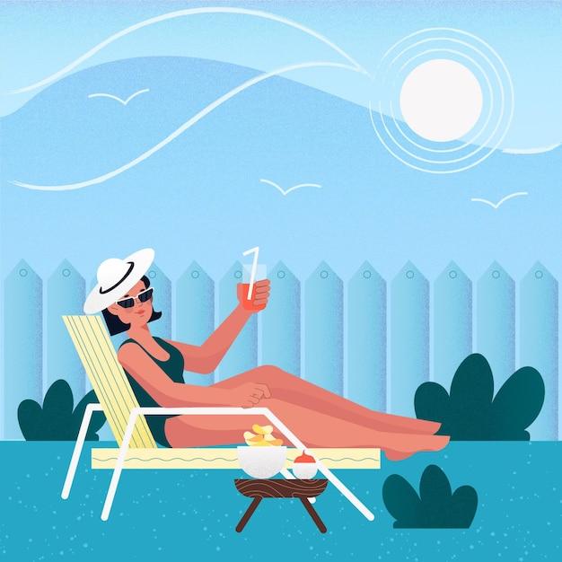 Frau, die im sonnenaufenthaltskonzept sitzt Kostenlosen Vektoren