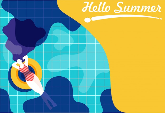 Frau, die in den swimmingpool schwimmt Premium Vektoren