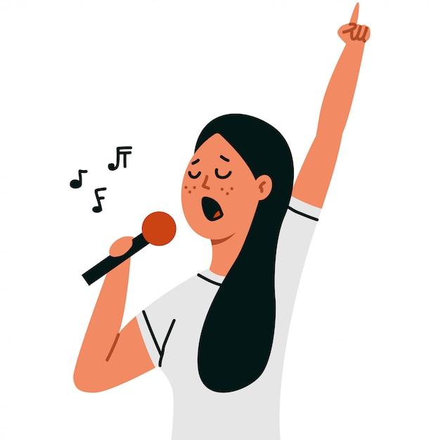 Frau, die in ein mikrofon getrennt auf weiß singt Premium Vektoren