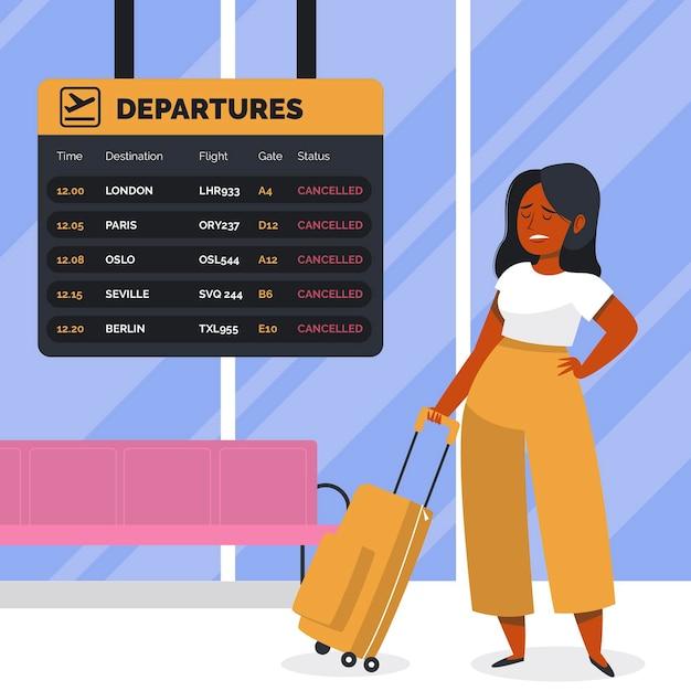 Frau, die in einem flughafen annullierte flugkonzept steht Kostenlosen Vektoren