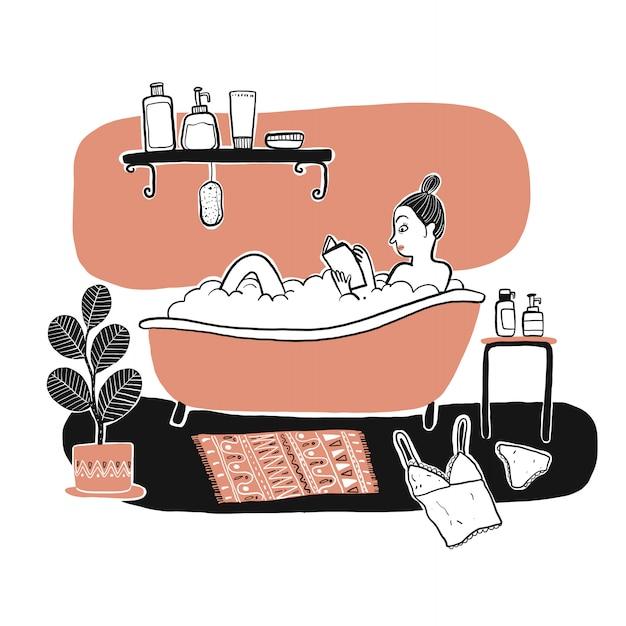 Frau, die in einer badewanne badet. Premium Vektoren