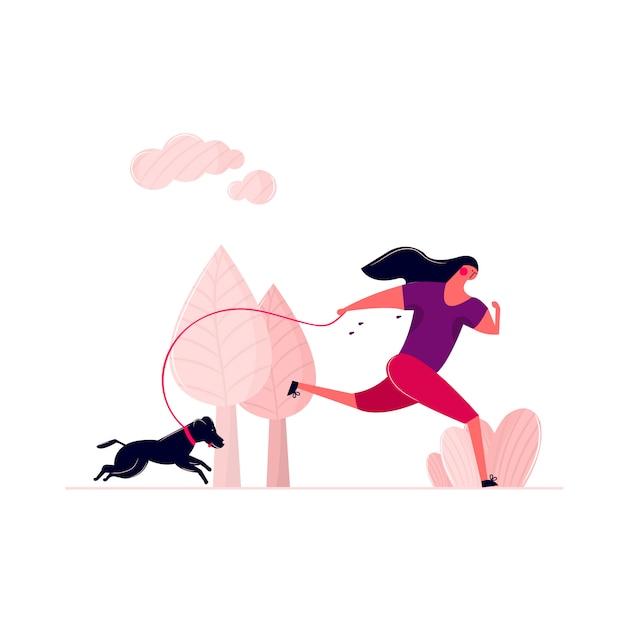 Frau, die mit hund auf straße im park im freien läuft. verschwitzte frau, die am morgen mit hündchen an der leine geht. rüttelndes frauentraining im freien mit haushaustier-gesundheitsbetrieb. Kostenlosen Vektoren