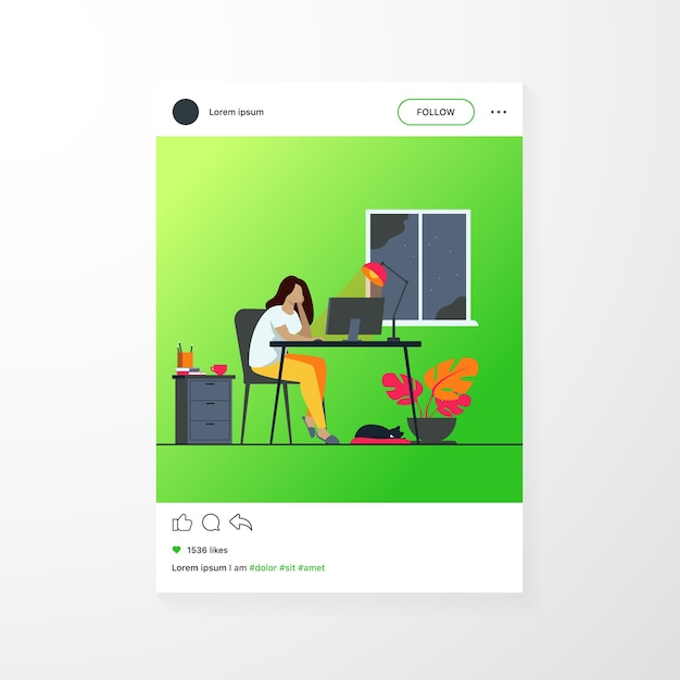 Frau, die nachts im hauptbüro arbeitet, isolierte flache vektorillustration. karikatur studentin, die spät bei der arbeit über computer oder designer lernt Kostenlosen Vektoren
