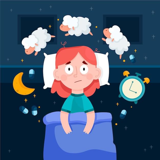 Frau, die probleme mit dem schlafen illustriert Kostenlosen Vektoren