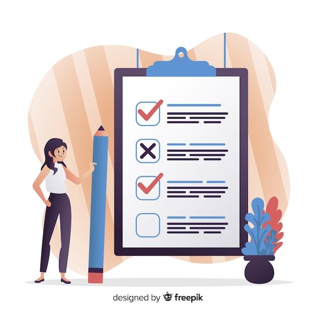 Frau, die riesige checkliste überprüft Kostenlosen Vektoren