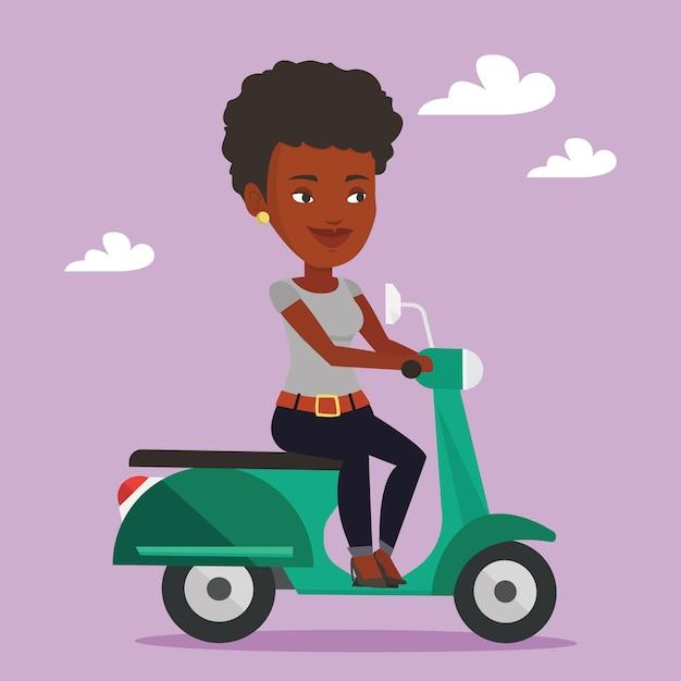 Frau, die roller reitet Premium Vektoren