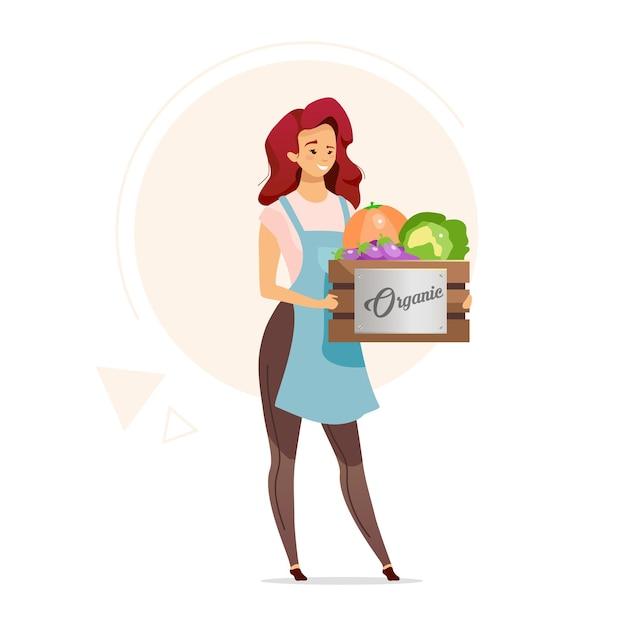 Frau, die schachtel der flachen farbe des organischen gemüses hält. bäuerin. landwirtschaft. verkäufer von gesunden lebensmitteln. versorgungsgeschäft. lebensmitteleinzelhandel. isolierte zeichentrickfigur auf weiß Premium Vektoren