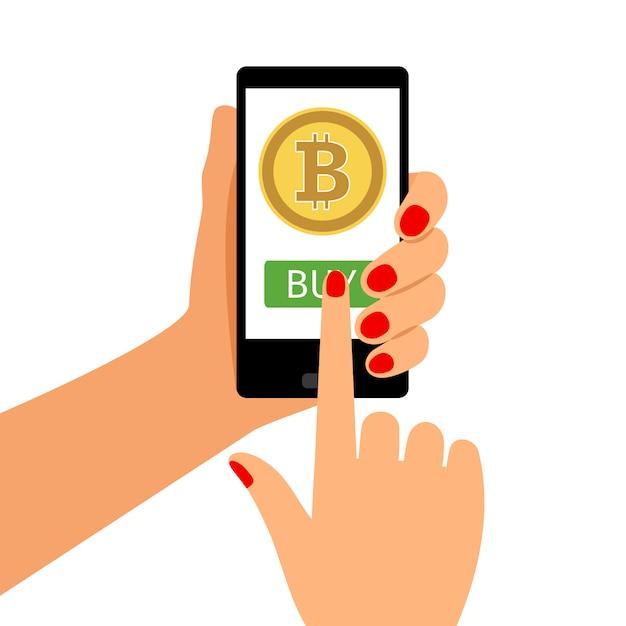 Frau, die smartphone mit bitcoin hält Premium Vektoren