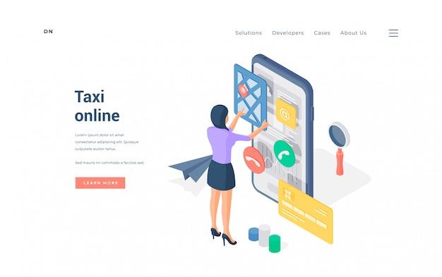 Frau, die taxi über smartphone-app bucht. isometrische frau, die bequeme online-app auf smartphone verwendet, um taxi auf werbebanner der website zu buchen Premium Vektoren