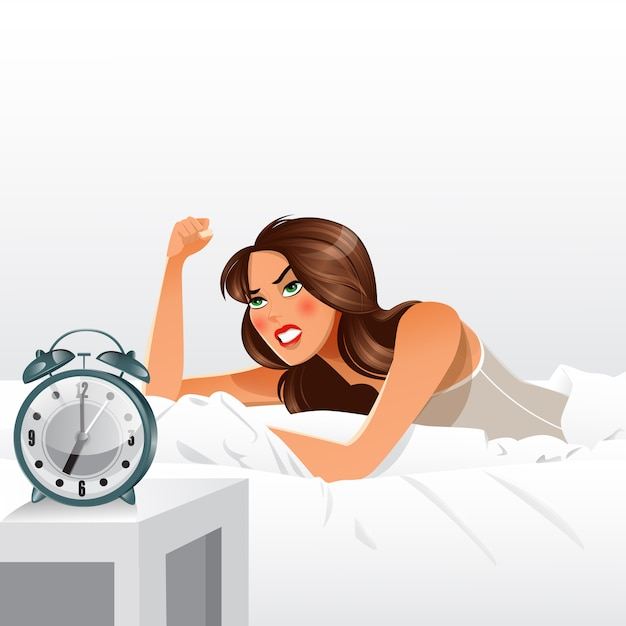 Frau, die über früh aufwachen verärgert erhält. morgen wecker. Premium Vektoren