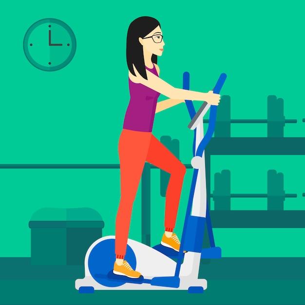 Frau, die übungen bildet Premium Vektoren