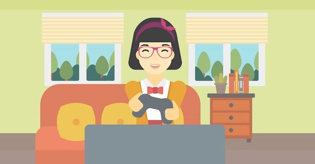 Frau, die videospielvektorillustration spielt. Premium Vektoren