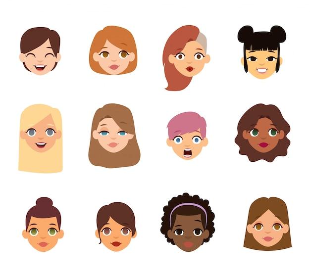 Frau emoji gesicht ikonen. Premium Vektoren