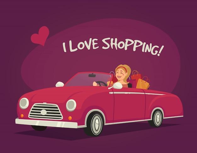Frau fährt einkaufen Kostenlosen Vektoren