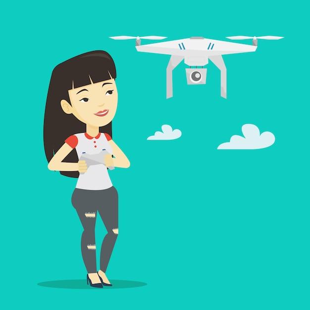 Frau fliegende drohnenvektorillustration. Premium Vektoren