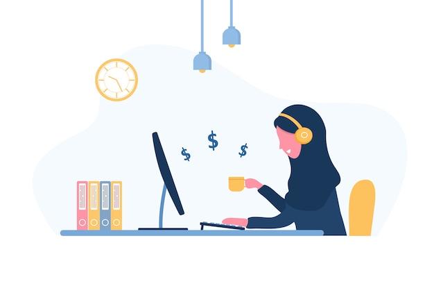 Frau freiberuflich tätig. arabisches mädchen im kopfhörer mit laptop, der an einem tisch sitzt. konzeptillustration für arbeiten von zu hause aus, studieren, bildung, gesunder lebensstil. illustration im flachen stil. Premium Vektoren