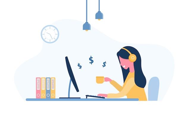 Frau freiberuflich tätig. mädchen in den kopfhörern mit laptop, der an einem tisch sitzt. konzeptillustration für arbeiten von zu hause aus, lernen, bildung, kommunikation, gesunder lebensstil. im flachen stil. Premium Vektoren