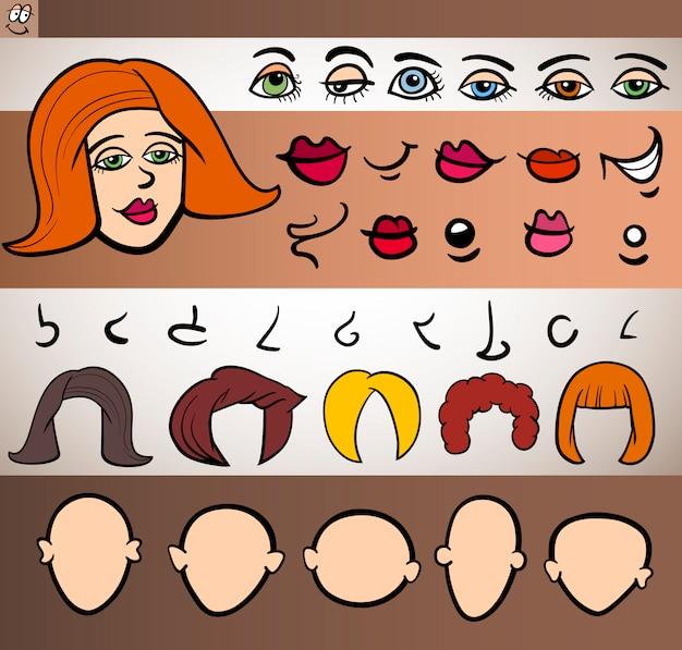 Frau gesicht elemente legen cartoon illustration Premium Vektoren