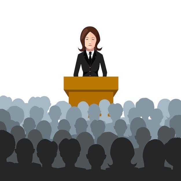 Frau hält einen vortrag zu einer flachen illustration des publikums auf weiß Premium Vektoren