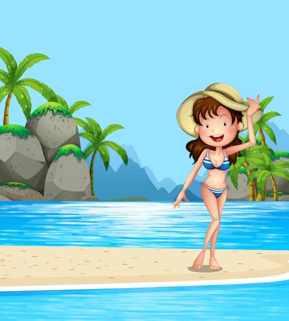 Frau im bikini am strand Kostenlosen Vektoren