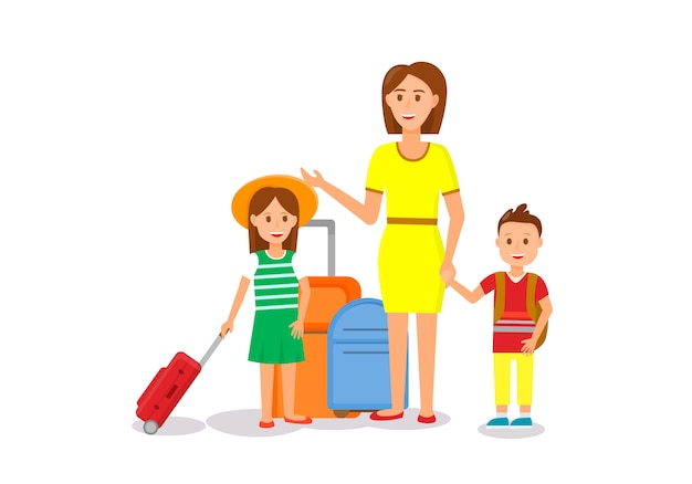 Frau im gelben kleid mit kindern und gepäck Premium Vektoren