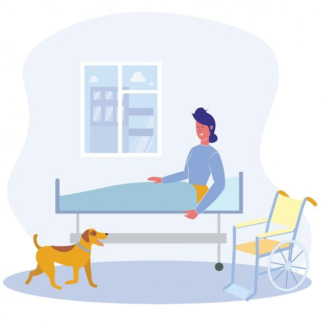 Frau im krankenstation-mobilitätsunterstützungs-hund Premium Vektoren