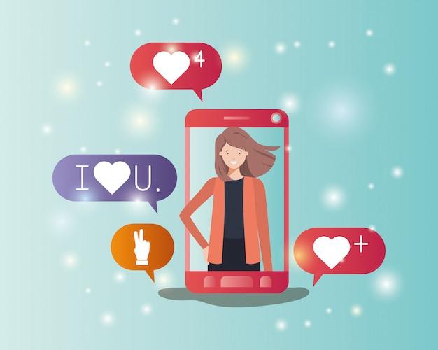 Frau im smartphone mit social media-blasen Premium Vektoren