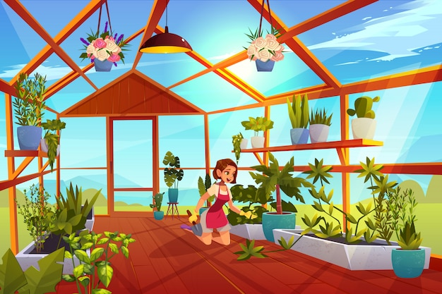 Frau in der gewächshaussorgfalt von gartenpflanzen. Kostenlosen Vektoren
