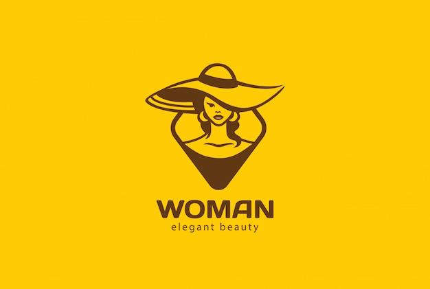 Frau in der hut-logo-vektorweinleseikone. Kostenlosen Vektoren