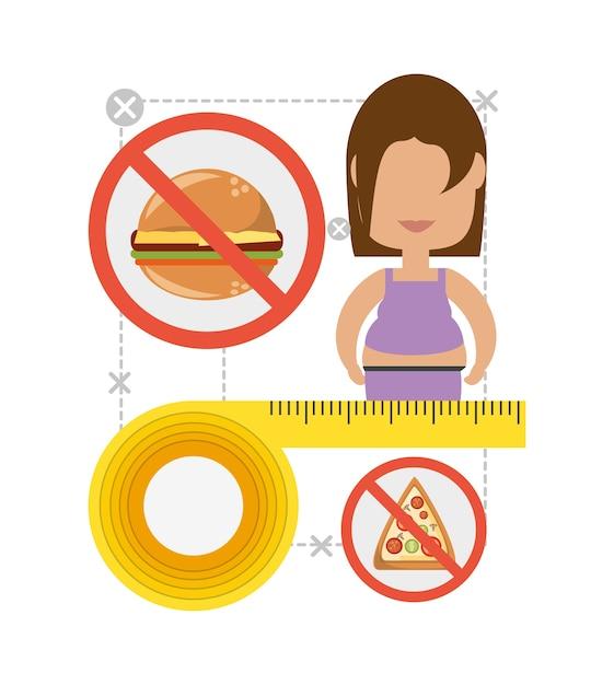 Frau In Diat Plan Um Das Essen Zu Andern Download Der Premium Vektor