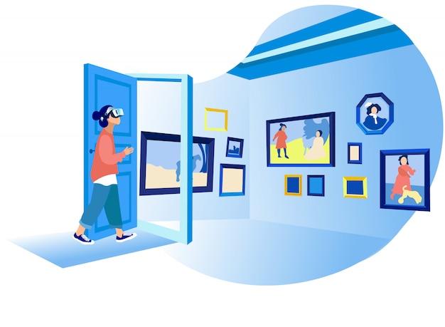 Frau in vr, das virtuelle art gallery paints betrachtet Premium Vektoren