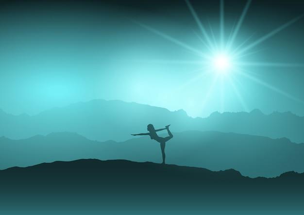 Frau in yogaposition in der landschaft Kostenlosen Vektoren