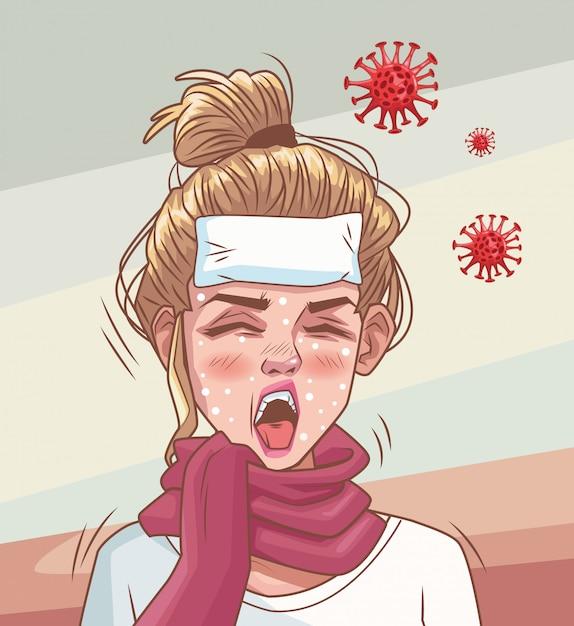 Frau krank mit coronavirus-szene Premium Vektoren