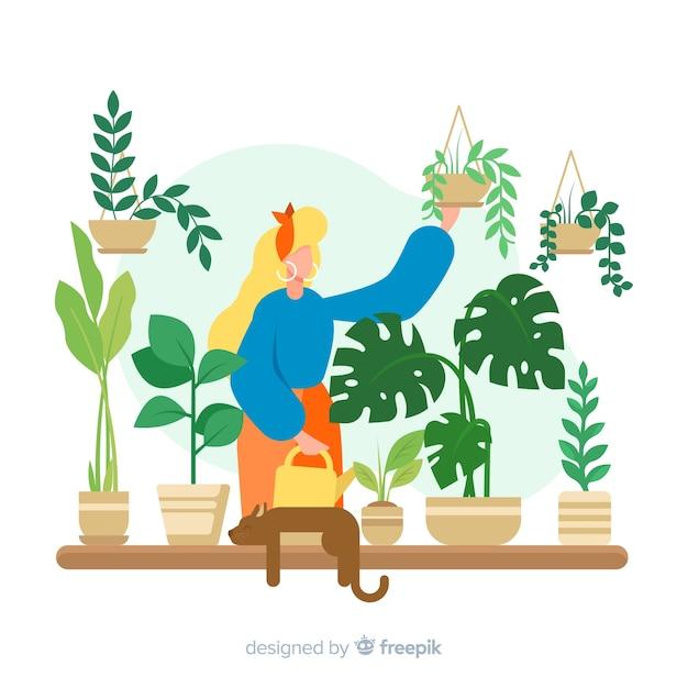 Frau kümmert sich um pflanzen Kostenlosen Vektoren