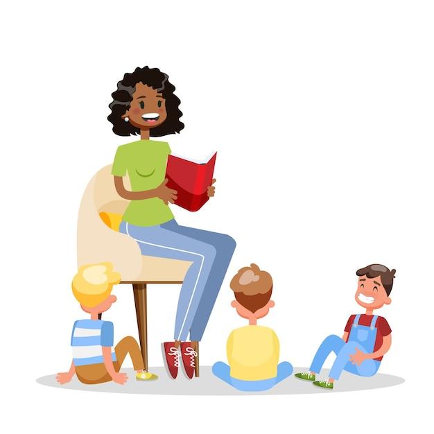 Frau las buch für gruppe der kinder. kinder hören märchen. erwachsener freiwilliger. cartoon-illustration Premium Vektoren