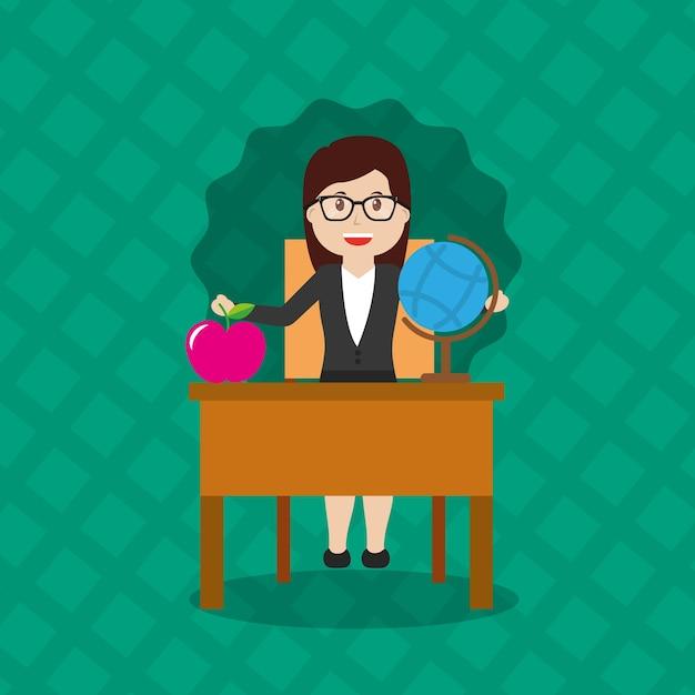 Globus Karte.Frau Lehrer Sitzen Schulbank Mit Globus Karte Und Apple