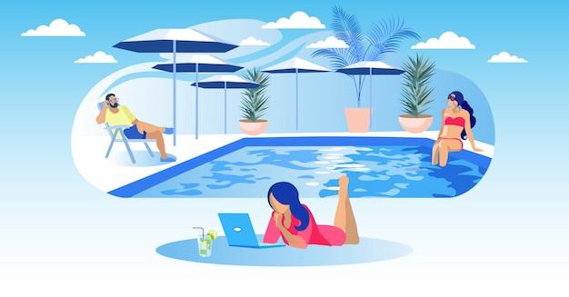 Frau liegt auf pool-hintergrund-laptop und cocktail Premium Vektoren