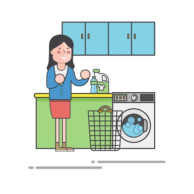 Frau macht wäsche Kostenlosen Vektoren