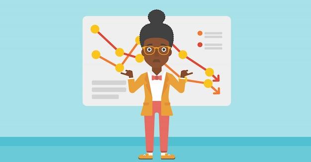 Frau mit abnehmendem diagramm Premium Vektoren