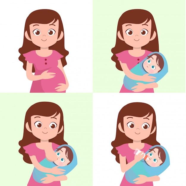 Frau mit baby Premium Vektoren