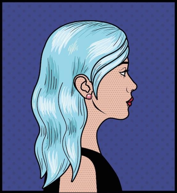 Frau mit blauem haar pop-art-stil Premium Vektoren