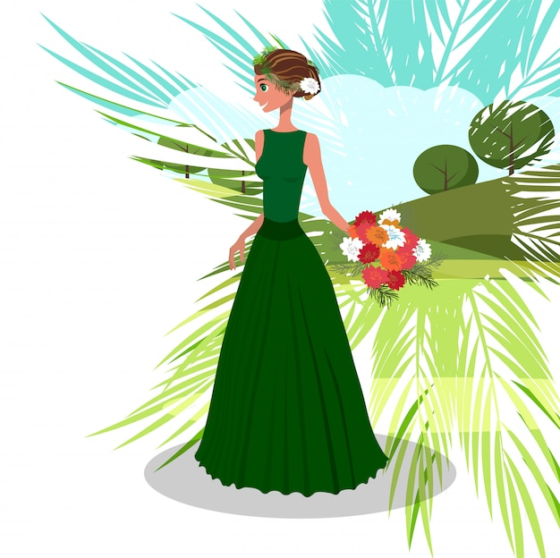 Frau mit blumenstrauß der pfingstrosen-vektor-illustration Premium Vektoren