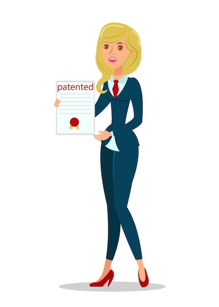 Frau mit copyright act flat Premium Vektoren